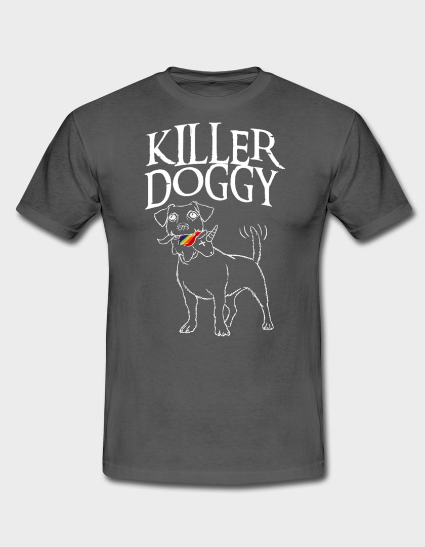 Killer Doggy mit Unicorn | Männer T-Shirt Graphite