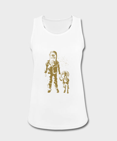 Spacewomen mit Hund Gold | Frauen Tank Top atmungsaktiv