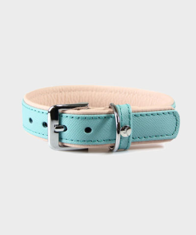 HUNDEHALSBAND FIRENZE LEDER ELECTRIC BLUE / NUDE